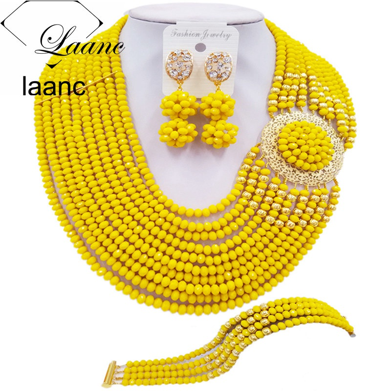 Laanc Fashion Opaque Yellow Jewelry Set for Women Nigerian Wedding African Beads Necklace Bridal Jewelry Sets DBPH025Laanc Fashion Opaque Yellow Jewelry Set for Women Nigerian Wedding African Beads Necklace Bridal Jewelry Sets DBPH025