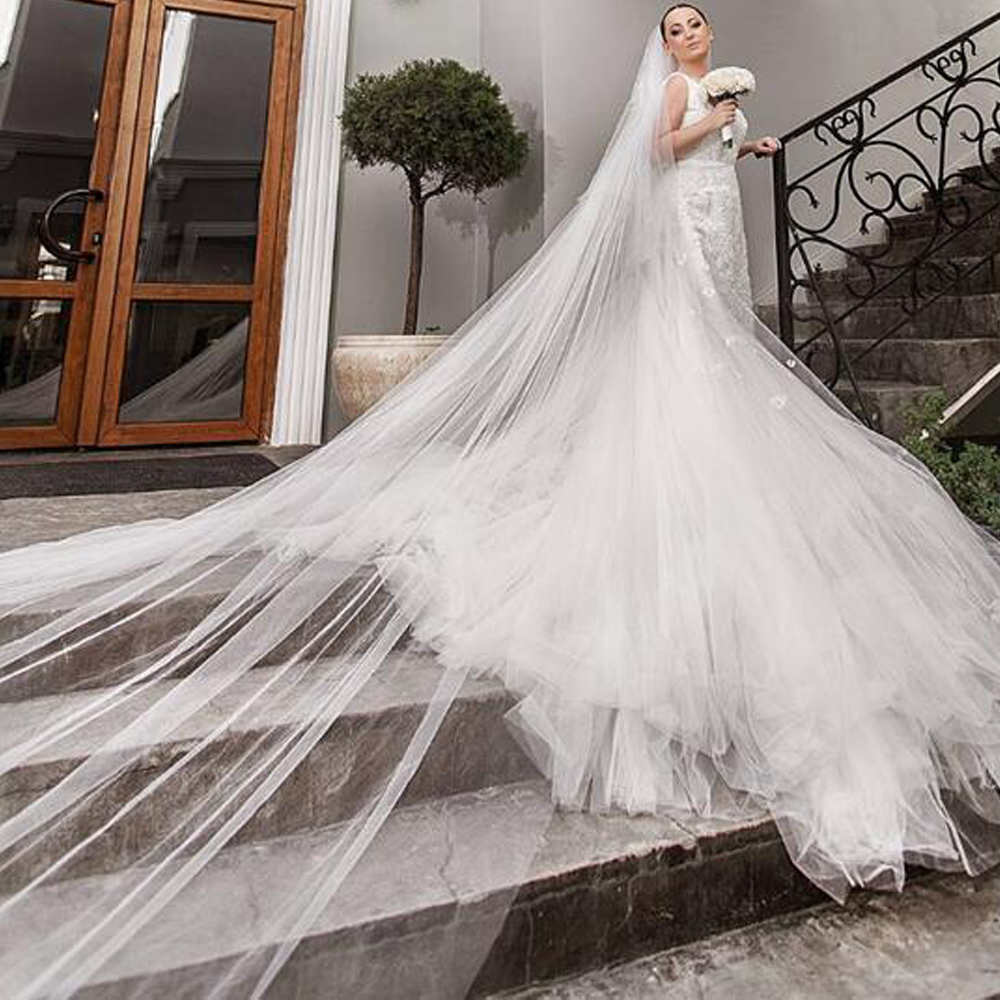 White/Ivory Single Layer Simple Plain Tulle Veil 3M Long Wedding Veil Bridal Accessories Free Shipping With Comb