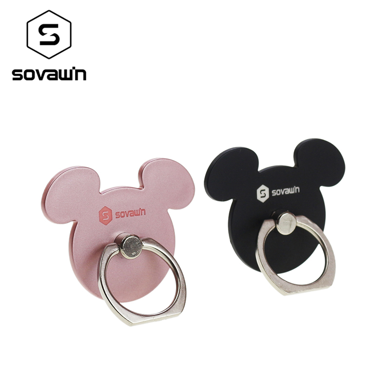 Sovawin Mouse Ear Mini Finger Ring Back Holder 360 Rotating Mount Mobile Phone Universal Stand for Any Phone