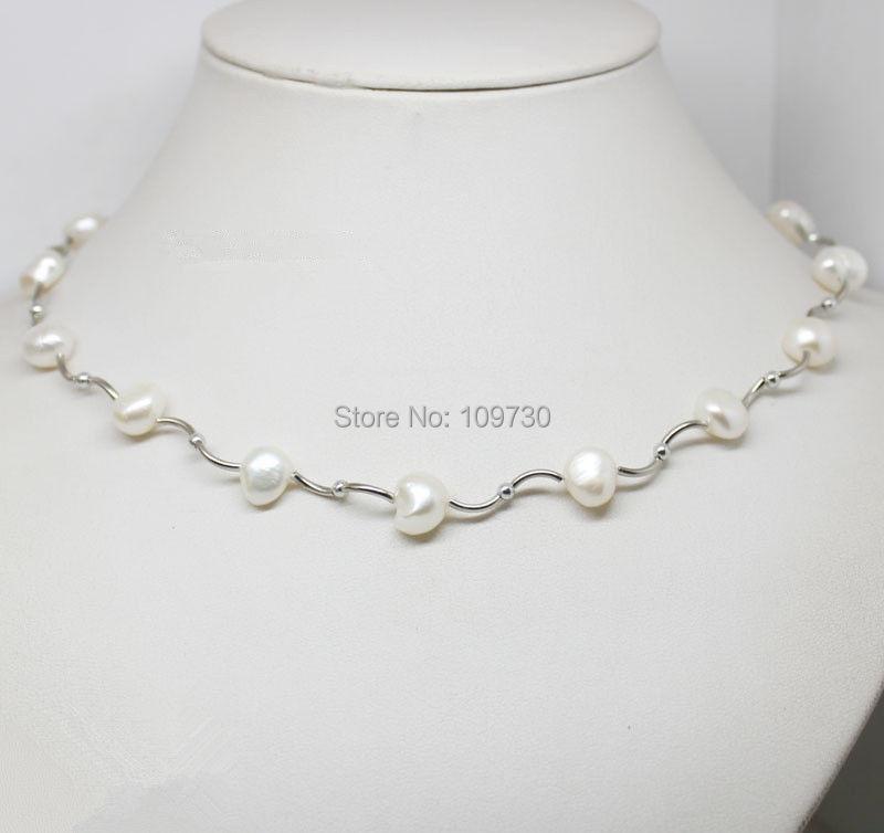 "Schmuck 002762 3pc weiß barocken süßwasser perlenkette 17"" lange modeschmuck"