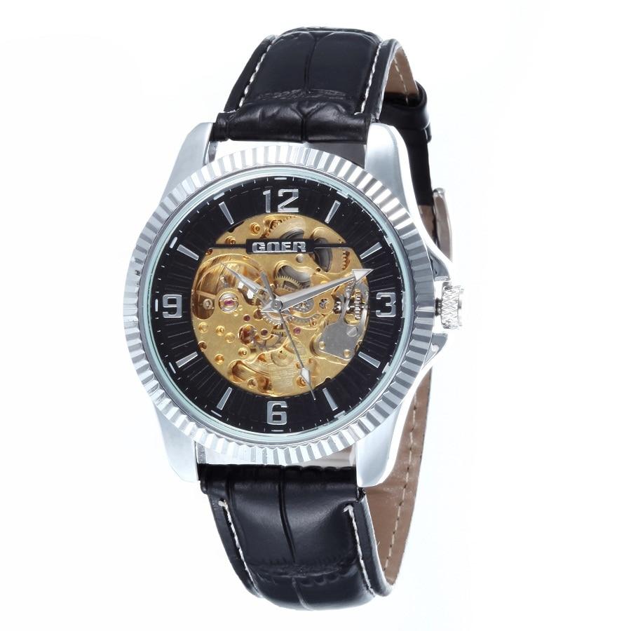 GOER brand Skeleton man automatic watch Male wrist watches Leather mechanical waterproof Luminous digital