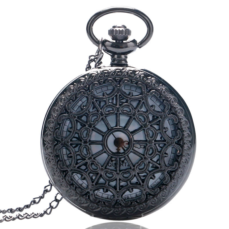 YISUYA Vintage Black Spider Web Pocket Watch With Chain Necklace Pendant Steampunk Hour Antique Style Gift P242