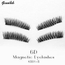 Genailish Double Magnet Eyelashes 6D False Lashes Synthetic fiber Makeup Eyelash Extension maquiagem With Round Box