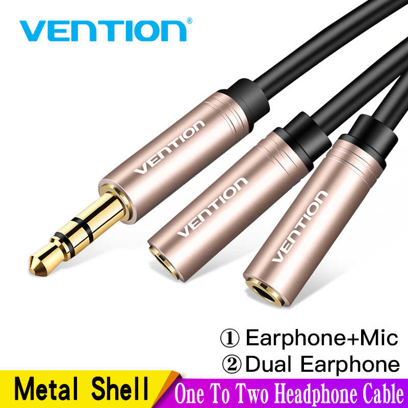 Vention 3.5mm Aux Cable Audio Splitter for Computer Jack 3.5 Male to 2 Female Mic Splitter Earphone Headphone Extension Cable
