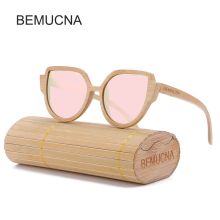 2017 New BEMUCNA Women Cat Eye Wood Sunglasses Brand Designer Sunglasses Oval Frame Glasses polarization Sun Glasses UV400