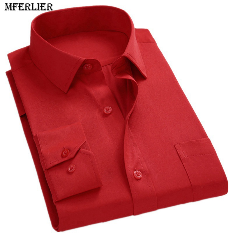 MFERLIER Men's Autumn Long Sleeve Dress Shirts Large Size 7XL 8XL 9X 10XL 14XL Smart Casual Man Solid Business Black Blue Shirt