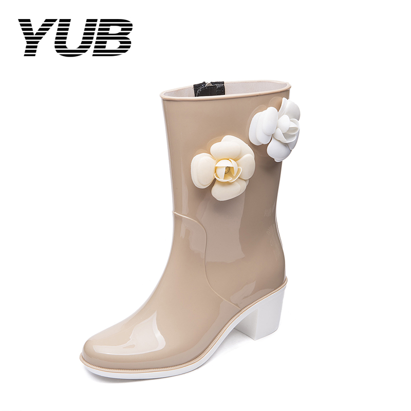 YUB Brand Lady's Fashion Rain Boots with Zipper Appliques Mid-Calf Women Boots PVC Waterproof Rubber Shoes Women Size 6-8 yub brand waterproof rain boots for women with solid color slip on winter mid calf shoes for girls