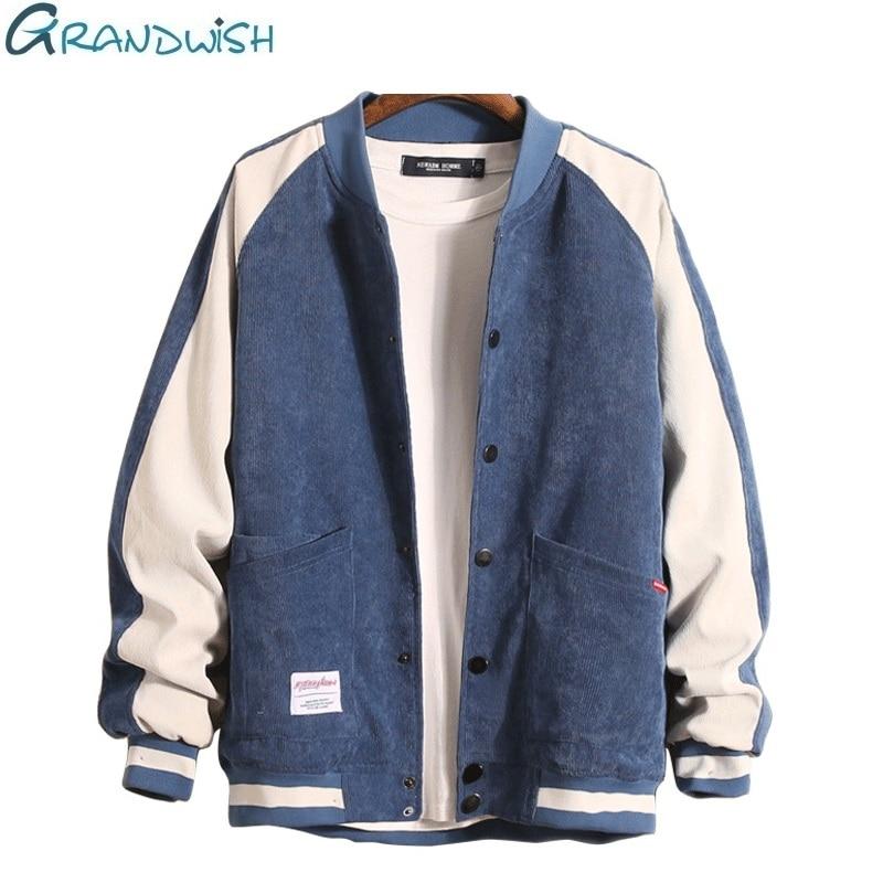 Grandwish Baseball Jacket Mens with Button College Patchwork Jacket Coat Men Plus Size M-3XL Bomber Jacket Men Fashion ,DA743