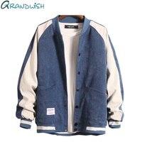 Grandwish Baseball Jacket Mens with Button College Patchwork Jacket Coat Men Plus Size M 3XL Bomber Jacket Men Fashion ,DA743