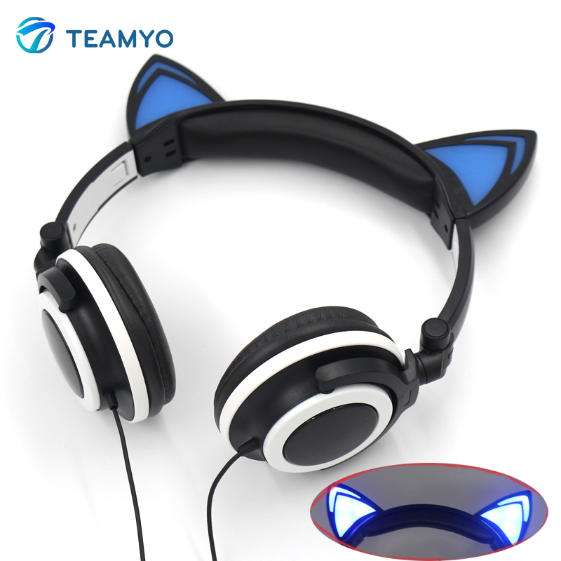 Foldable Flashing Glowing Cute Cat Ear Headphones Gaming Headset Earphone LED light Headphones for computer Mobile Phones girls foldable cat ear headphones gaming headset earphone with glowing led light for phone computer best halloween gift for girls kids