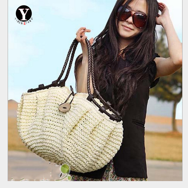 Yirenfang Fashion Women Bag Summer Totes Straw Woven Straw Beach Shoulder Bags Famous Brands Luxury Handbags Women Bags Designer