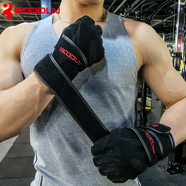 Boodun Sports Fitness Weight lifting Gloves Black Genuine Leather Wrist Gloves Gym Men Women Breathable Training