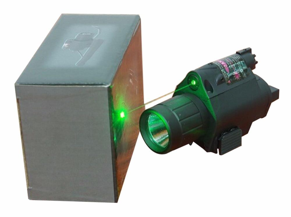 2 in 1 Combo Tactical CREE Q5 LED Flashlight  LIGHT 200LM + Green Laser Sight For pistol gun Handgun Glock 17 19 22 20 23 31 37