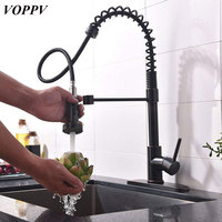 VOPPV Kitchen Pull out Black ORB Mixer Sink Faucet Copper Faucet Hot and Cold Water Deck Mounted Unique Solid Kitchen Faucets