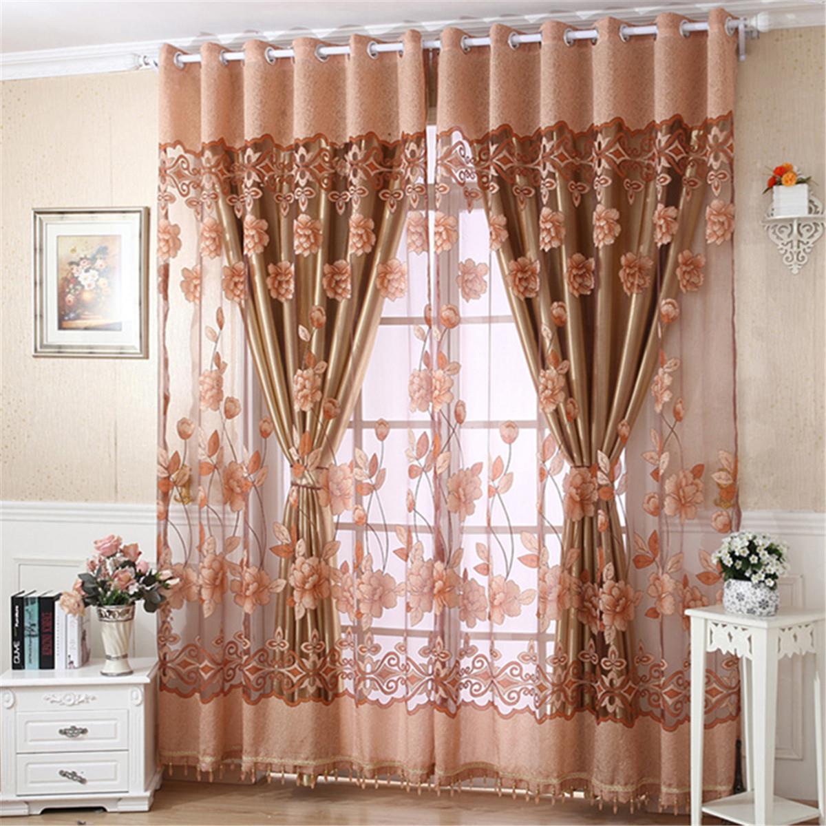 Elegant Flower Print Tulle Door Drape Window Curtain Home Panel Sheer Scarf Valances Living Room Bedroom