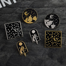 Dark Starry Moonlight Tombstone Knife Mountain Pins Button Punk Gothic Brooch for Women Men Jewelry Lapel Pin Badge Accessories(China)