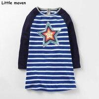 Little Maven Kids Dresses For Girls Autumn Baby Girls Clothes Cotton Star Sequined Stripped Pentagram Dress