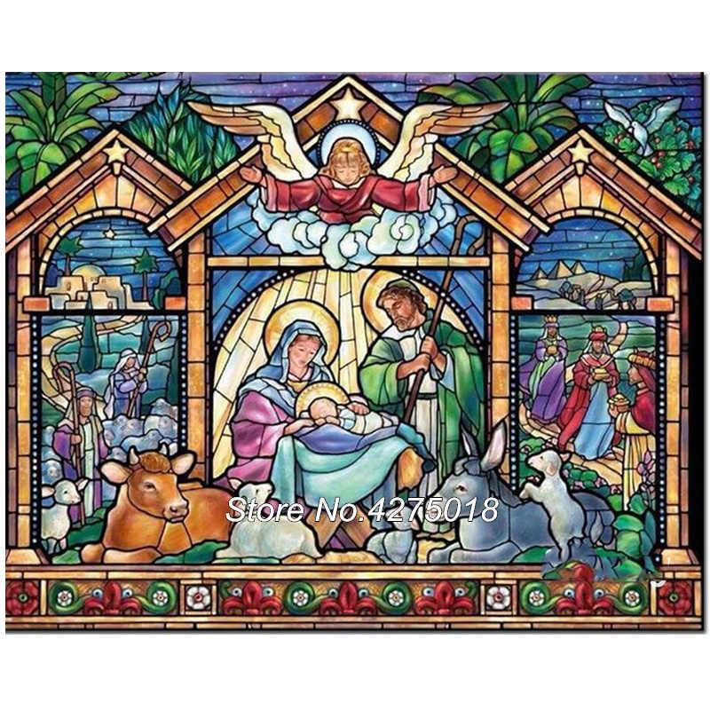 Алмазная вышивка religion рождении Иисуса домашний декор поделки алмазов картина крестом 5D полный горный хрусталь мозаика ремесел CX622