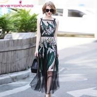 Spaghetti Strap Flower Embroidery Long Dress Summer Fashion Casual Work Party Ball Dress Beach Boho Maxi