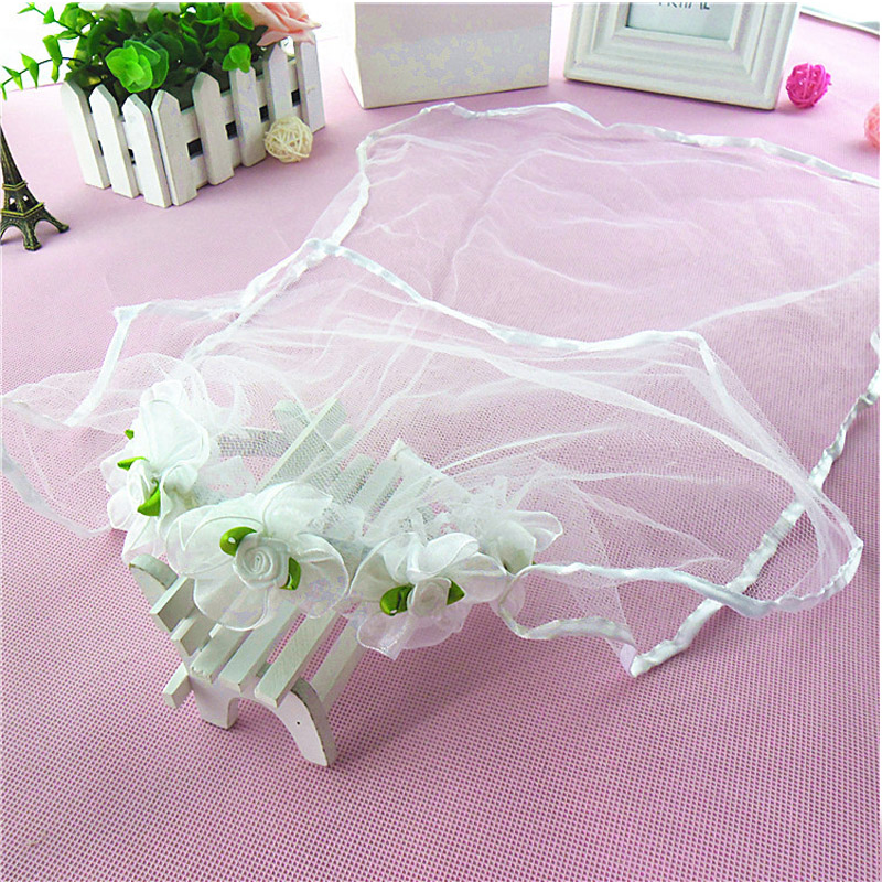 2017 Kids Wedding Veil For Flower Girls Wedding Accessories Lace Edge With Comb White Ivory Red Tulle Short Veil
