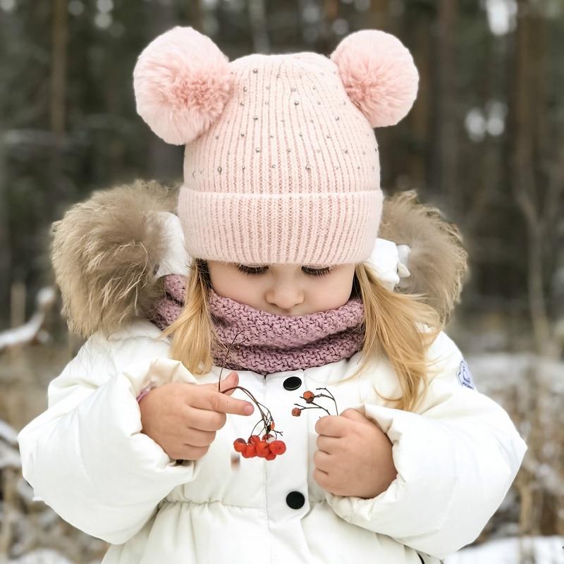 Baby Hut Häkeln Doppel Pompom Hut Für Mädchen Rhinstone Schmücken Winter Kinder Mädchen Cap Warm Samt Innen, Kinder Kappe