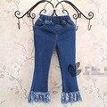 Новое поступление 2016 весенние дети дизайнерский бренд девушки джинсы корейских детей джинсовые кисточкой Soild длинные джинсы для 2-7Y