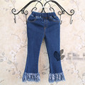 New Arrival 2016 Spring Kids Designer Brand Girls Jeans Pants Korean Children Denim Tassel Soild Long Jeans Trousers For 2-7Y