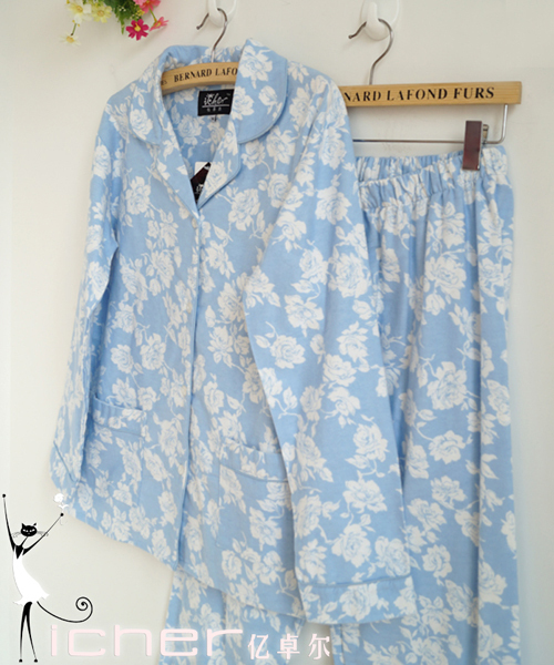 La primavera y el otoño de la largo-manga de la flor azul 100% algodón de doble cara polar conjunto dormir