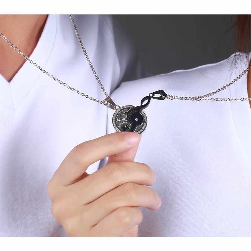 Моана патруля продвижение колье ожерелье Макси Цепочки и ожерелья музыка Дизайн пары кулон для любителей 316l Нержавеющаясталь 2 шт/комплект