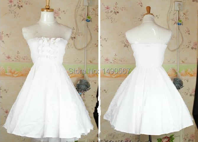Sweet Lolita Dress Party Princess Royal Strapless Off Shoulder Baby Doll Dress Christmas Cosplay Costume Sky Blue/White