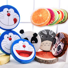 1Pcs 39x7cm New Creative 3D cartoon circle fruit cushions Memory foam watermelon pillow Plush toys pillow can unpick and wash(China)