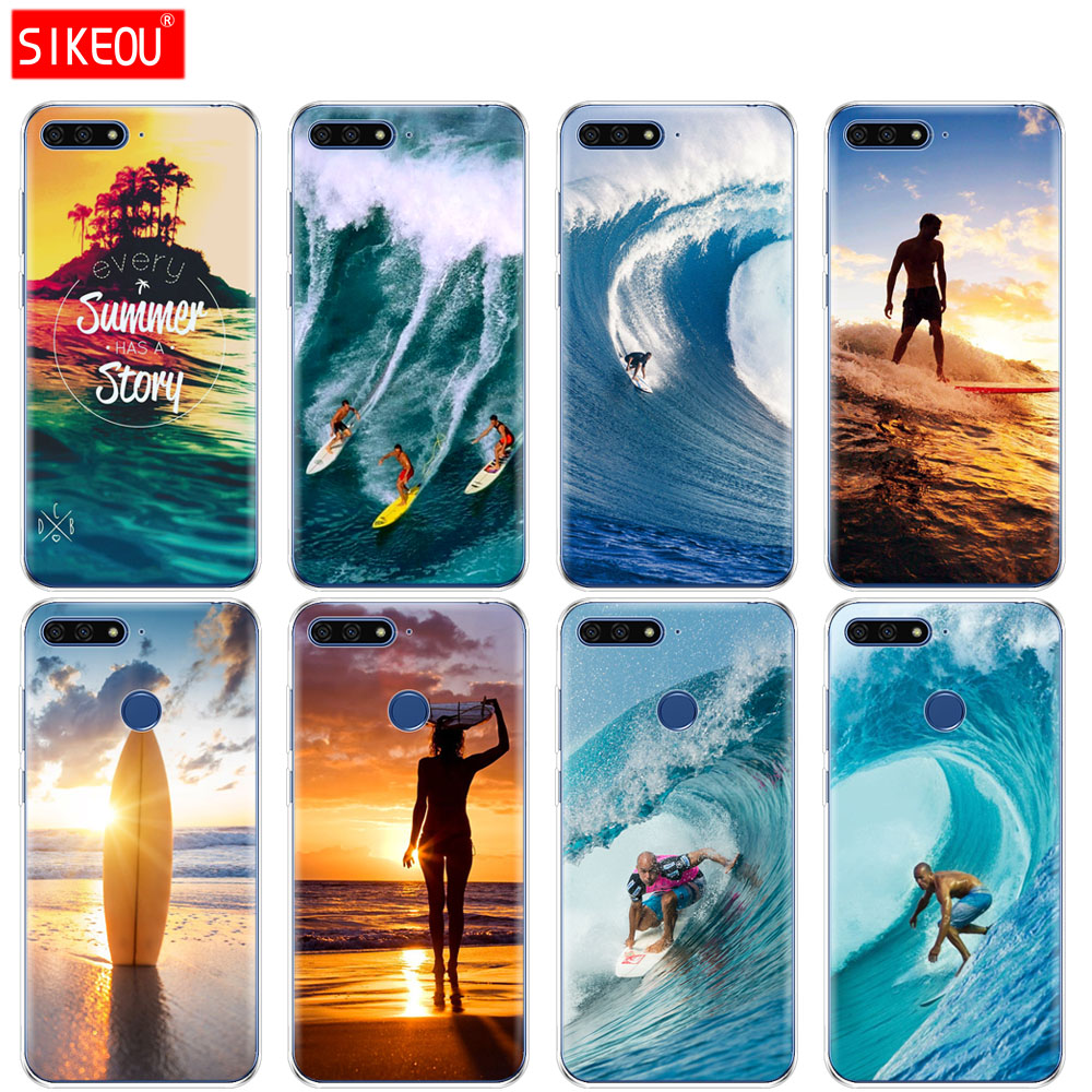 <font><b>Silicone</b></font> Cover Phone <font><b>Case</b></font> For <font><b>Huawei</b></font> Honor 7A PRO 7C Y5 <font><b>Y6</b></font> Y7 Y9 2017 <font><b>2018</b></font> Prime Sea wave surf <font><b>summer</b></font> surfing ocean image