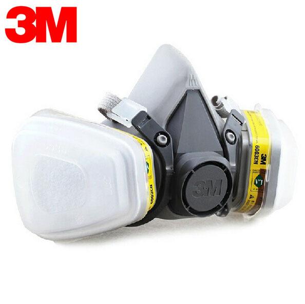 3 M 6100 + 6003 Media Máscara del Respirador Reutilizable Máscara Orgánica Ácido Mascarilla para Vapores Orgánicos y Gases Ácidos 7 artículos para 1 Unidades LT051