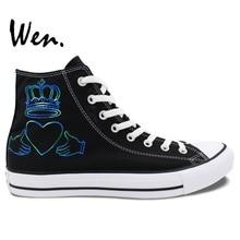 Wen Men Women'S Hand Painted Shoes Design Custom Simple Minds High Top Canvas Sneakers Men Women's Christmas Gifts
