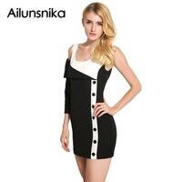 Ailunsnika 2017 Fashion Summer Sexy Black White Patchwork Women Bodycon Mini Dress One Sleeve Sheath Dress