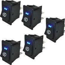 5Pcs Blue LED Light 12V 35A Universal Car Fog Light Rocker Switch 4 Pin Dash Dashboard