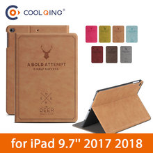 Deerskin Grain Tablets Case For iPad 9.7 2017 2018 PU Leather Smart Protective Cover Tablet Case For iPad 2018 Case iPad 9.7Case