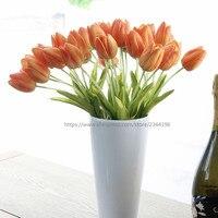 Inicio decoración de la boda, Centros de Mesa, arreglo floral artificial 28 unids tulipanes táctiles reales en el florero, orange blanco