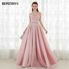 Vestido De Festa A line Long Evening Dress Vintage Off The Shoulder Prom Dresses Crystal Belt Robe De Soiree 2020