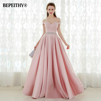 Vestido De Festa A line Long Evening Dress Vintage Off The Shoulder Prom Dresses Crystal Belt Robe De Soiree 2017