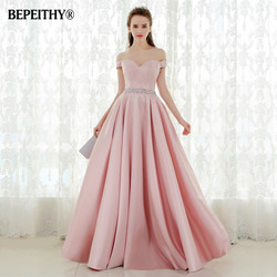 Vestido De Festa A-line Vestido de Noite Longo Do Vintage Fora Do Ombro Vestidos de Baile de Cristal Cinto Robe De Soiree 2019