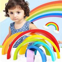 Colorful Rainbow Building Blocks Toys Wooden Blocks Circle Set Baby Colour Sort Blocks Play Game Toy