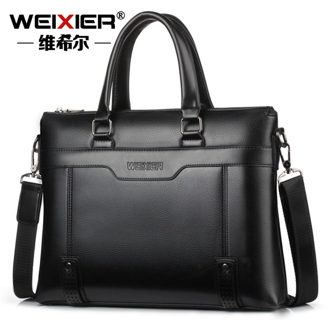 9ecf3cb773a WEIXIER Business Solid Color Men Briefcases Luxury Brand Mens Laptop Bag  Fashion Large Male Shoulder Bags bolsa masculina