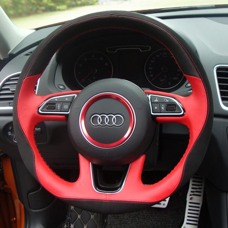 Genuine Leather Car Steering Wheel Cover For Audi A4L/A6L/A3/Q3/Q5/Q7 car accessories styling