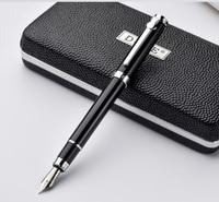 Duke Carbon Fiber Series Luxury Black And Silver Clip Fountain Pen 0 5mm Metal Ink Pens