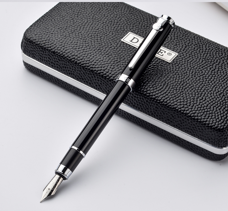 Duke Carbon Fiber Series Luxury Black and Silver Clip Fountain Pen 0.5mm Metal Ink Pens with Original Gift Case Free Shipping duke luxury writing business stationery black and gold 0 5mm fountain pen with blue gem on the top metal ink pens free shipping
