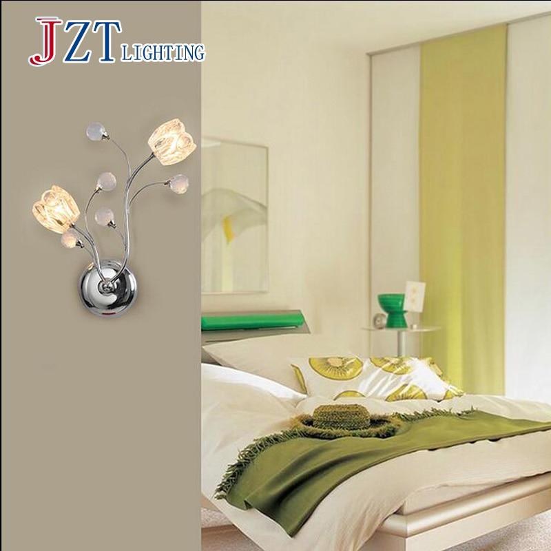 ФОТО T Crystal Flower Fashion Wall Lamps Modern Creative LED Simple Modern Lamps For Bedroom Aisle Corridor Home Lighting DHL FREE