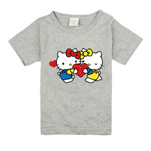 Boys Short Sleeve T Shirts For Children Hello Kitty Girl T-shirt Cotton 1-18 Year Kids Clothing Baby Girls Tops Tees Clothes