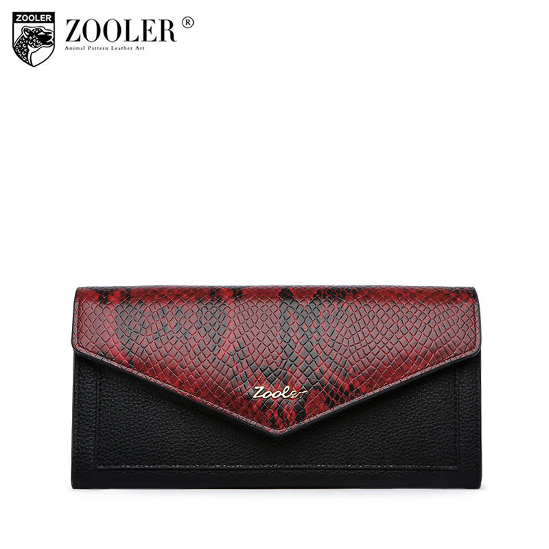 ZOOLER 2018 NEW Genuine Leather Women Wallet Crocodile Pattern Cow Leather Wallet Fashion Women 4-colour Option Clutches#w103