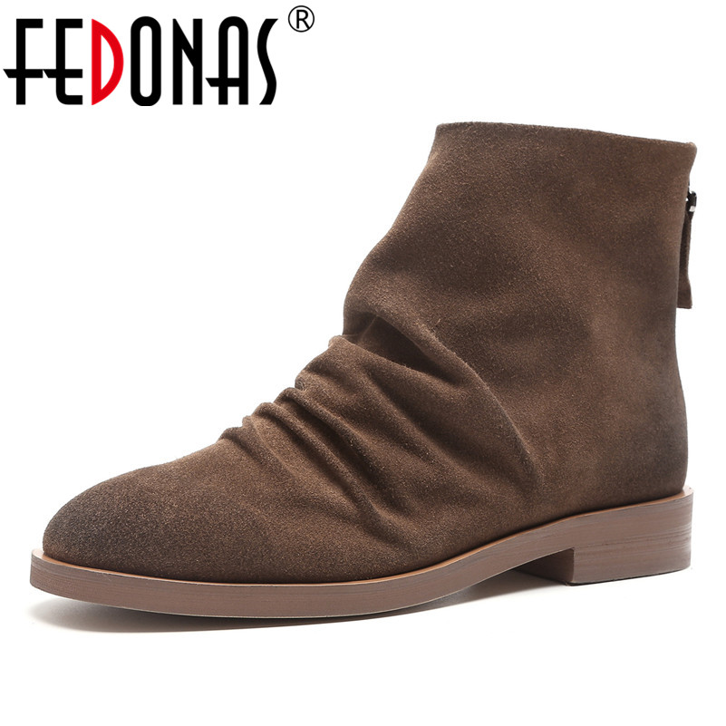 FEDONAS Retro High Quality Women Ankle Boots Round Toe High Heels Motorcycle Boots Zipper Warm Autumn Winter Shoes Woman fedonas retro ruffels women shoes woman wedges high heeled warm autumn winter motorcycle boots fashion new round toe martin shoe